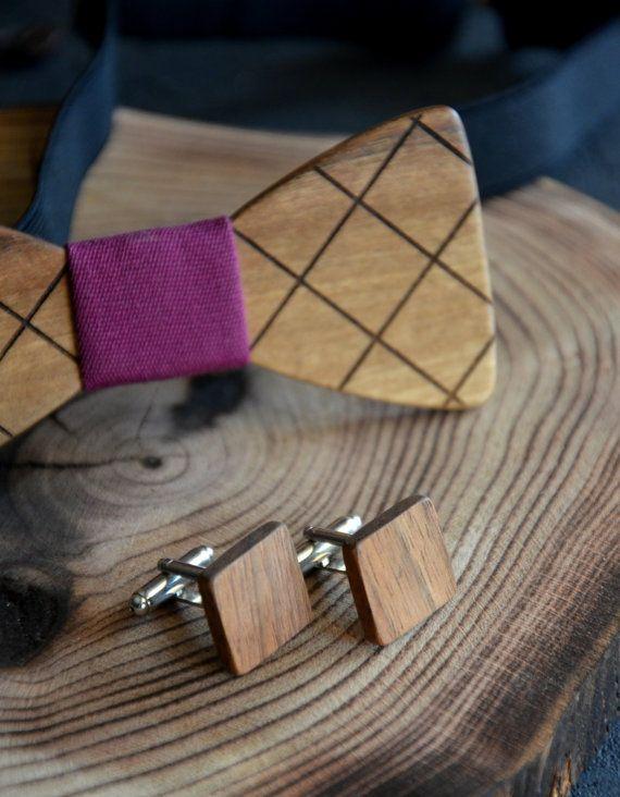 Set of Bow Tie Cuff Links Wooden Man Custom Cufflinks Christmas Gift for Father Husband Boyfriend Boss Brother 5th Wedding Anniversary