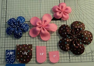 These are cute. I'd use a more mature fabric since the flower would be for my hair. And add some rhinestones to the center!: Hairbows, Hair Flowers, Ribbons Flowers, Hair Bows, Petals Flowers, Flowers Bows, Hair Clip, Hairclip, Fabrics Flowers