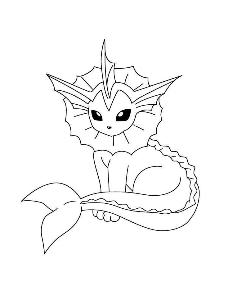 pokemon vaporeon coloring pages - Grass Type Pokemon Coloring Pages