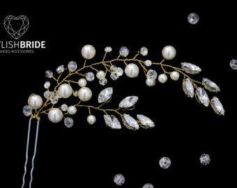 Wedding Pearl Crystals Hair Pin, Bridal Pearl Hair Pin, Wedding Hair Piece, Bridal Hair Accessory, Wedding Crystal Pearl Hair Grip