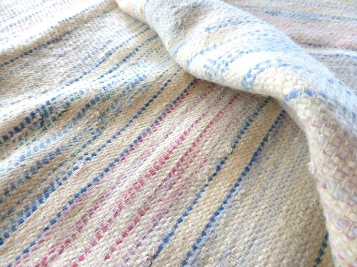 Vintage catalogne loom woven cover blanket HEAVY 72x74