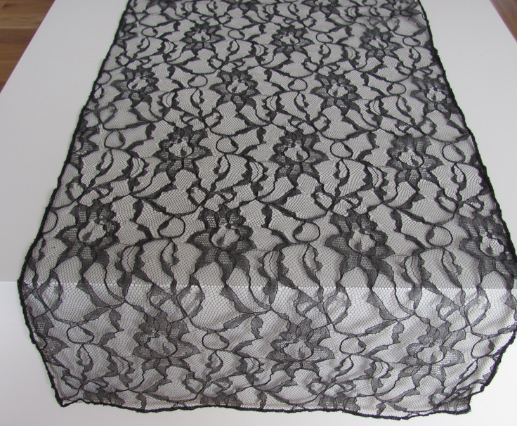 Black Lace table runner 14 x 72. $9.50, via Etsy.