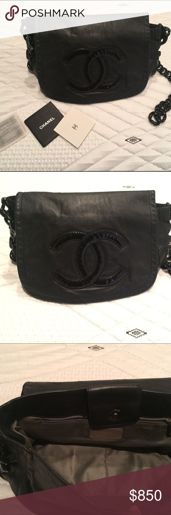 CHANEL :: Authentic Black Lambskin Leather Purse NO TRADES - This beautiful Chanel Resin Modern Chain Lambskin purse is classy and playful. It features a resin chain link strap and trim details, patent interlocking CC design at the front and black and silver-tone hardware accents. **Chain link collapsed and I never got around to taking it in to repair. ** Other than the strap, it is in GREAT condition. Opens to a grey satin-lined interior with zipped pocket and slip pockets perfect for…