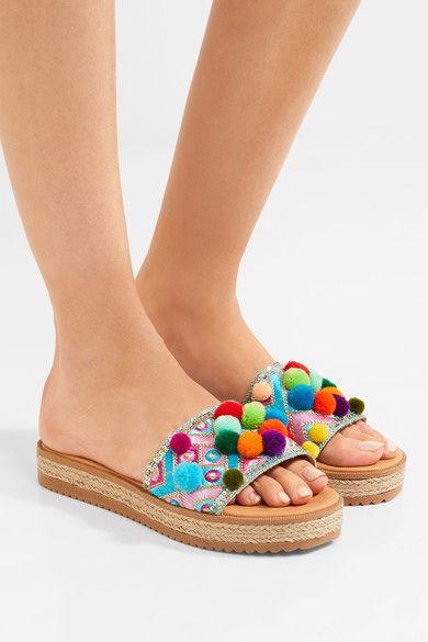 Mabu by Maria BK - Violette Embellished Leather Platform Sandals - Blue - IT