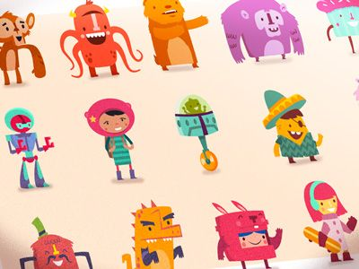 A series of vibrant characters for the Hopscotch app (http://www.gethopscotch.com)