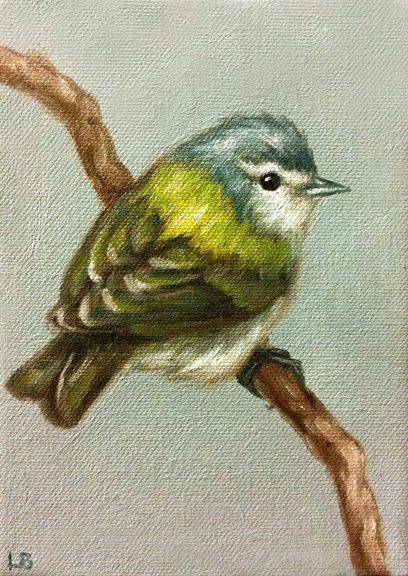 Original Oil Painting Tennessee Warbler by LamaArt on Etsy, $50.00