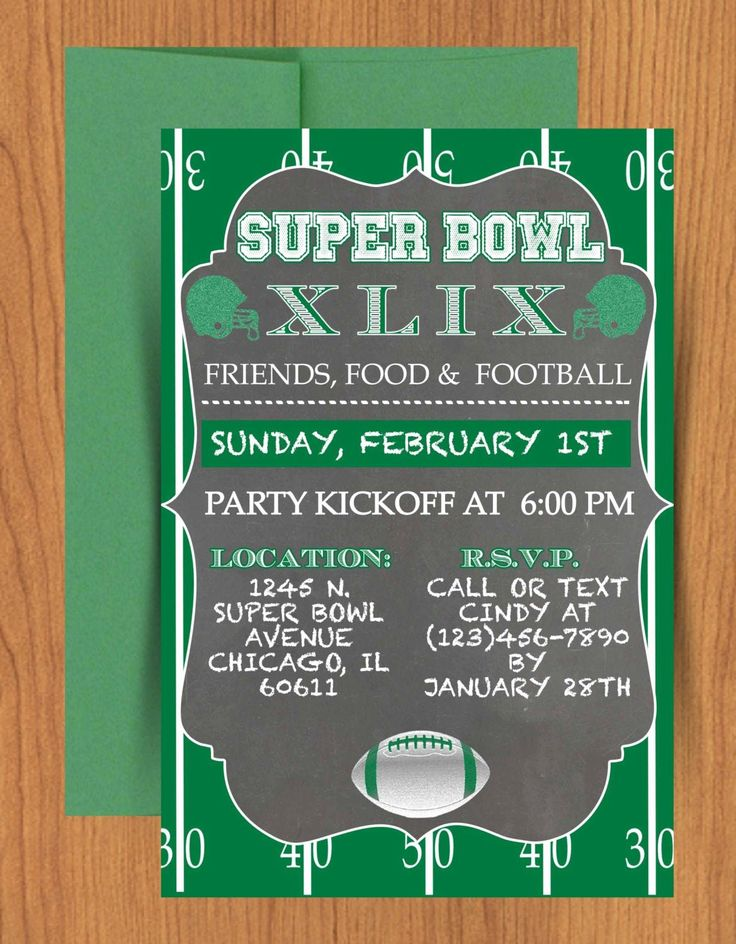 Superbowl Party Invitation Template Best Of Chalkboard