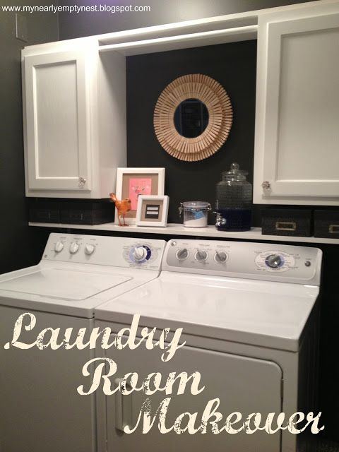 My Nearly Empty Nest: Laundry Room Makeover, like the cabinets but I think I'd want open shelves in the middle