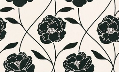 Albany Kitchen & Bathroom  (18093) - Graham and Brown Wallpapers - A bold black gloss flower trail on fresh white vinyl wallcovering, with a soft touch feel. Please ask for sample for true colour match.