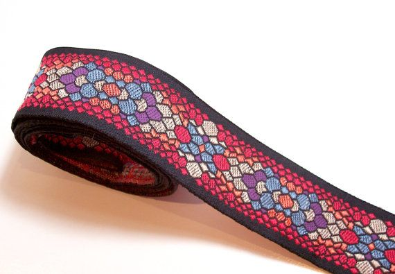Red Geometric Flower Jacquard Ribbon 1 3/4 by GriffithGardens, $2.00