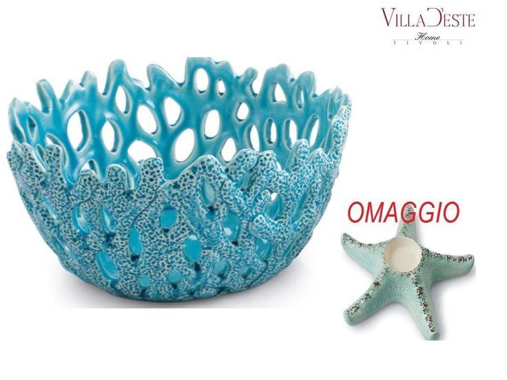 VILLA D'ESTE  Centrotavola corallo turchese in ceramica + OMAGGIO ( 2179848)