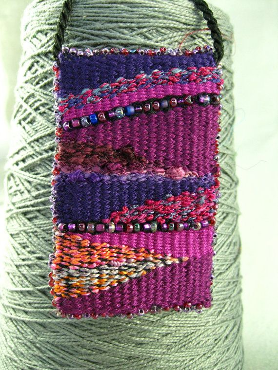Handwoven Beaded Tapestry Pendant in Purple Pink and by dinahsrose, $35.00