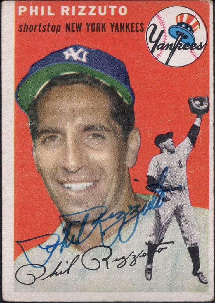 1954 topps phil rizzuto autograph baseball cards