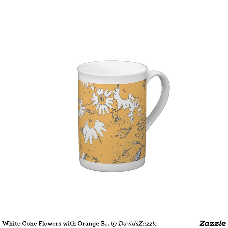 White Cone Flowers with Orange Background Tea Mug Available on more products, type in the name of this design in the search bar on my products page to view them all!  #cone #daisy #shasta #calendula #floral #flower #orange #grey #blue #gray #white #pattern #print #all #over #abstract #plant #nature #earth #life #style #lifestyle #chic #modern #contemporary #home #decor #kitchen #dining