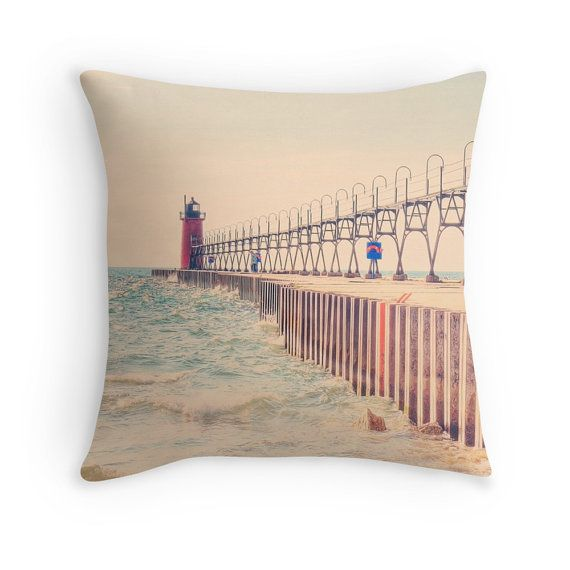 South Haven MI Lighthouse photo pillow cover Lake Michigan Photography, MI Pier Photo Pillow Cover, Nautical Home, Lake House Decor, Rustic