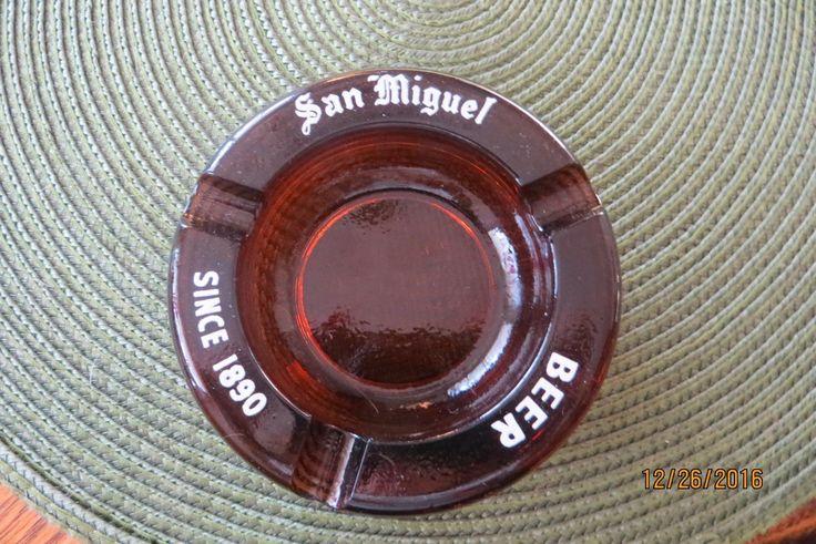 Brown Glass Ashtray, San Miguel Beer, Advertising, Rare Ashtray