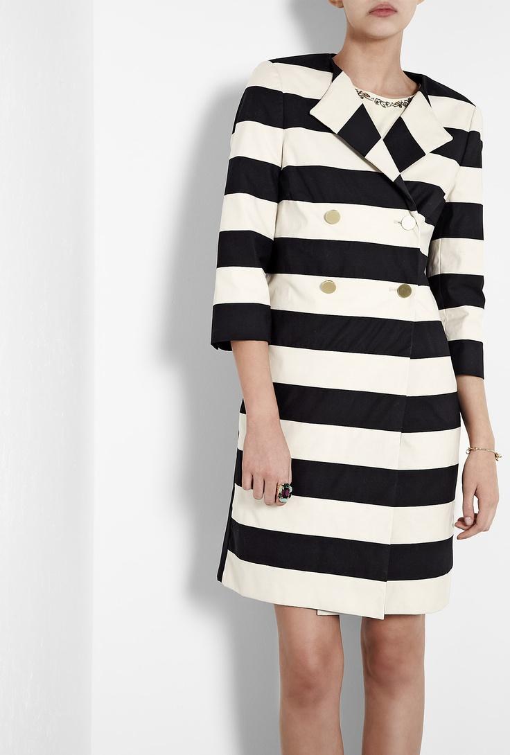 By Malene Birger Salerna Black and Cream Wide Stripe Coat
