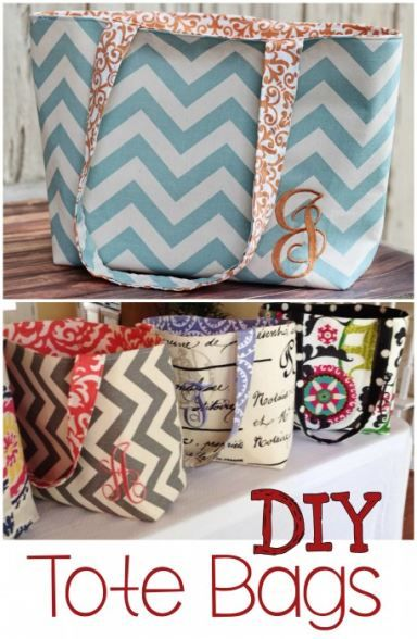 DIY Tote Bags - These cute handbags make a great beginner sewing project. I love the chevron pattern on this one. I think these would make awesome beach bags or gift idea too!