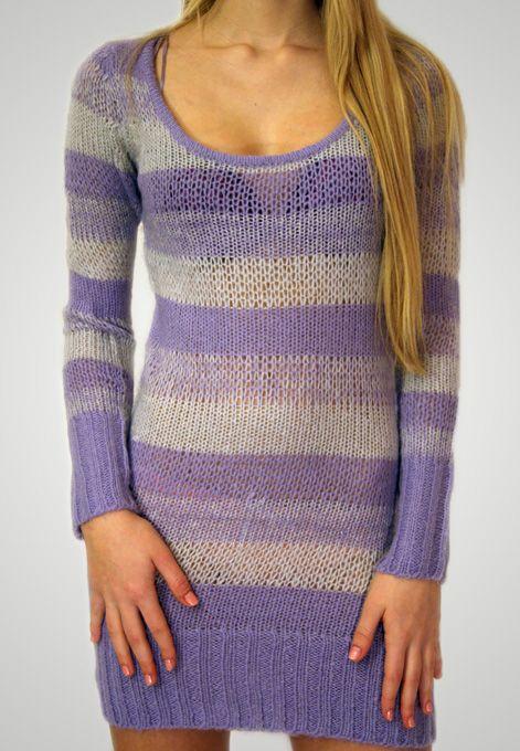 Proužkovaný dlouhý svetr