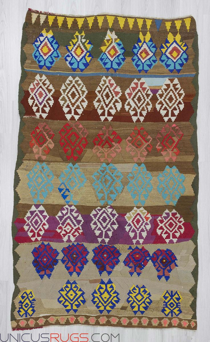 "Vintage colorful kilim rug from Denizli region of Turkey.In very good condition.Approximately 50-60 years old. Width: 5' 1"" - Length: 8' 4""  Colorful Kilims"