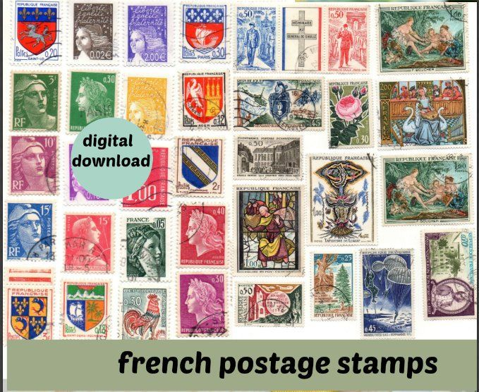 postage stamps sheets to download Printable French vintage stamp sheet