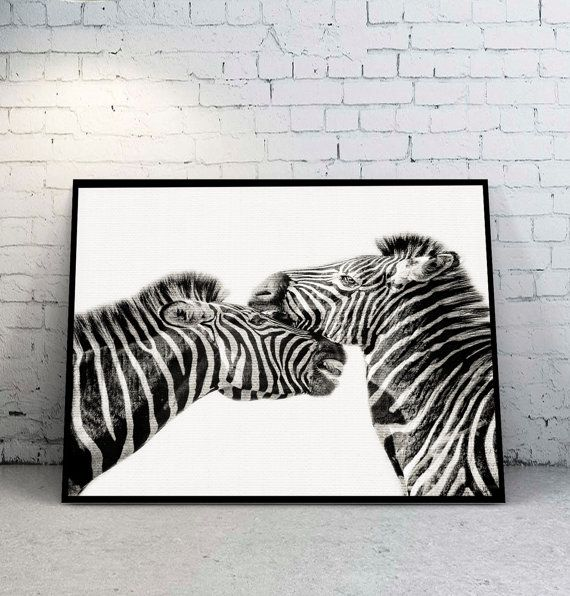 Zebra Print Black and White Decor Wall Decor от YourPrintsShop