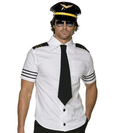 Piloten outfit voor heren. Het piloten outfit bestaat uit een overhemd met korte mouwen, stropdas en pet. Voor piloten zonnebrillen kijk bij ons in de winkel. Carnavalskleding 2015 #carnaval