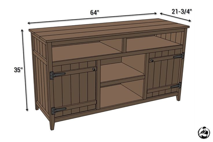DIY Rustic Media Center Plans - Dimensions Put another shelf in the middle, not as long and remove the top shelving.