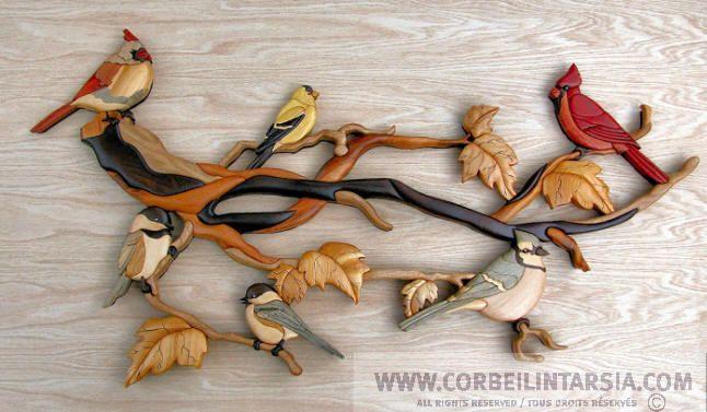 Birds an branch (cardinals, chickadees, blue jay, goldfinch) - Branche enchantée avec oiseaux (cardinaux, mésanges, chardonneret, geai bleu)