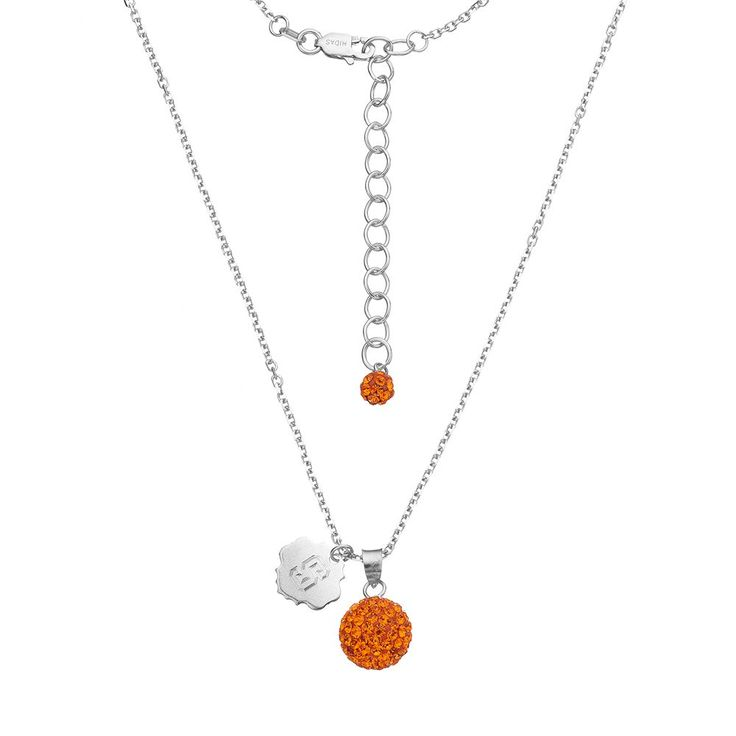 """Syracuse Orange Crystal Sterling Silver Team Logo & Ball Pendant Necklace, Women's, Size: 18"""""""