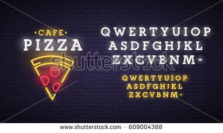 Pizza logo, emblem. Pizza neon sign, bright signboard, light banner. Neon sign creator. Neon text edit