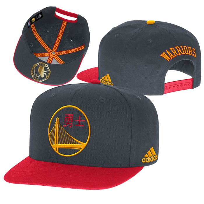 Golden State Warriors adidas 2016 Chinese Heritage Snapback Hat - Slate/Red