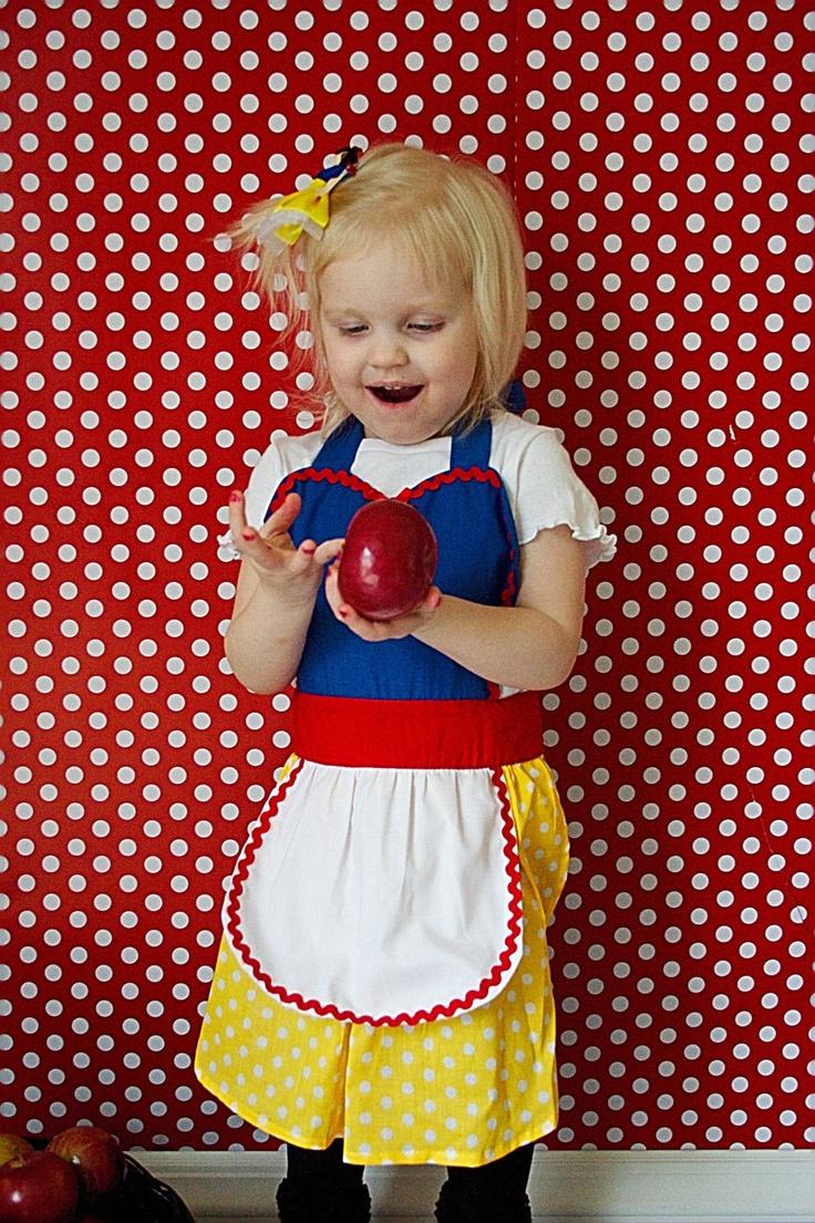 Snow white apron etsy - Childrens Apron For Girls Snow White Inspired Princess Childrens Full Apron Birthday Kids Apron Gift