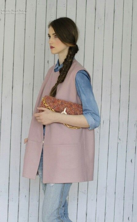 #pink coat #пальто #жилет #безрукавка #sleeveless coat