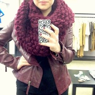 #ootd @Jessaca Austin in our chunky infinity scarf (sale $89) and oxblood lamb leather jacket (sale $189)