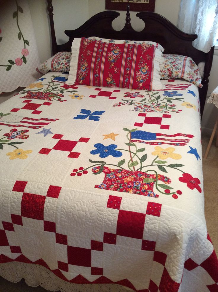 Old Glory Quilt I Made From Blackbird Designs Pattern Just Love It For Summer On The Bed And