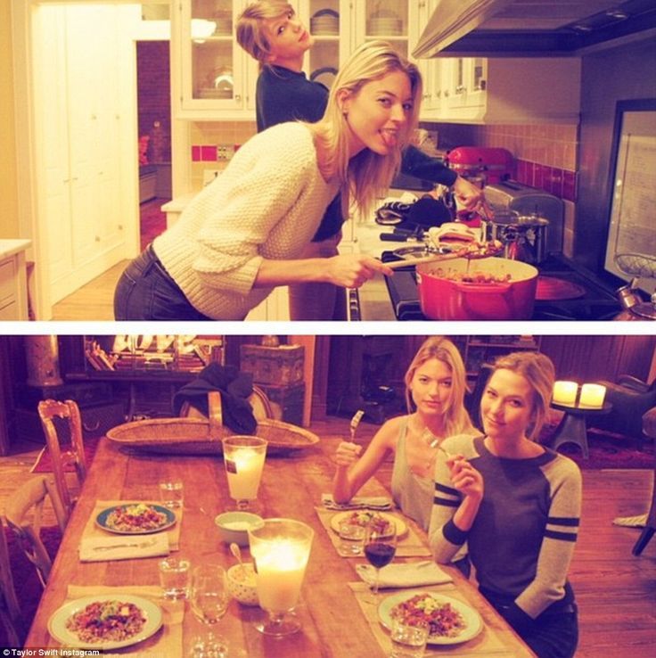 Taylor with Karlie Kloss and Martha Hunt in an Instagram post showing the friends cooking their own dinner and eating it