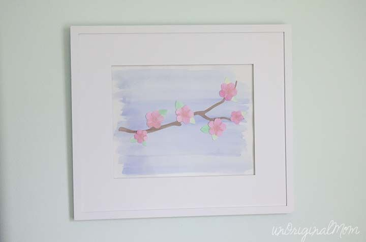 Cherry Blossom Watercolor Wall Art with your Silhouette - unOriginal Mom