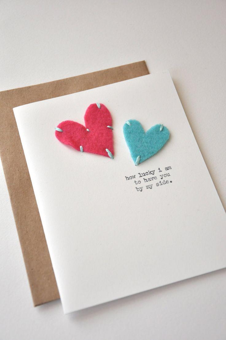 Handmade Cards  Handmade Anniversary Card  Handmade Greeting Card  Felt  Hearts  I  Homemade