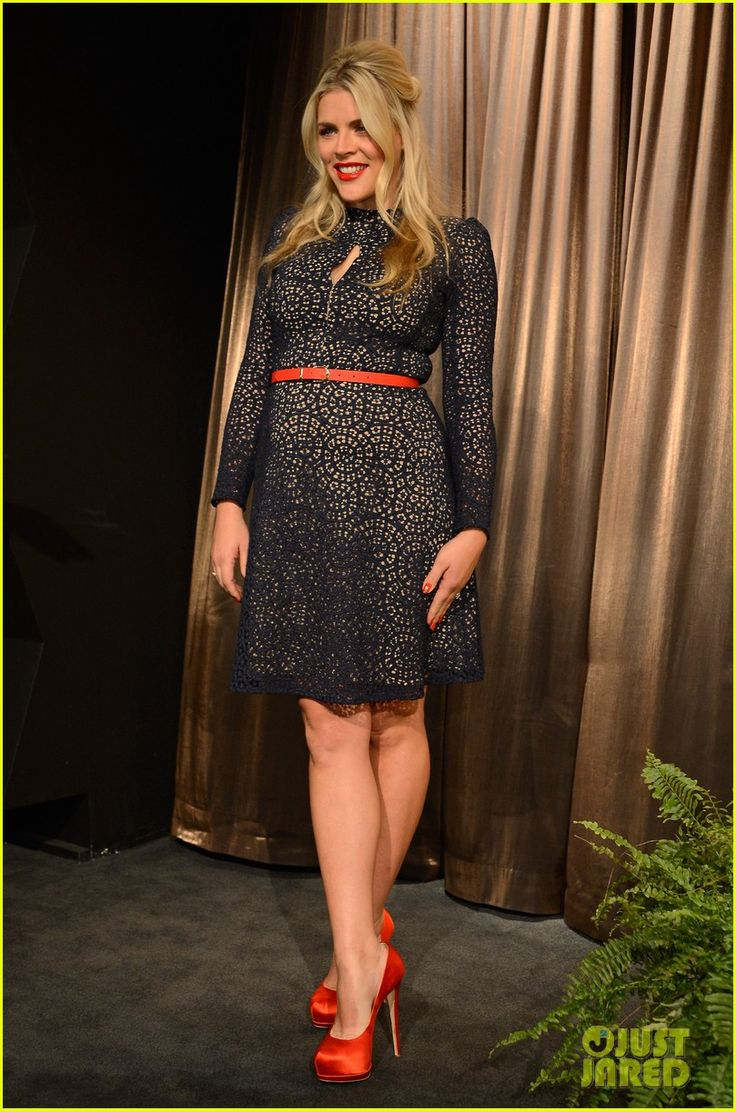 Newly pregnant Busy Philipps, in a Carven dress and ...