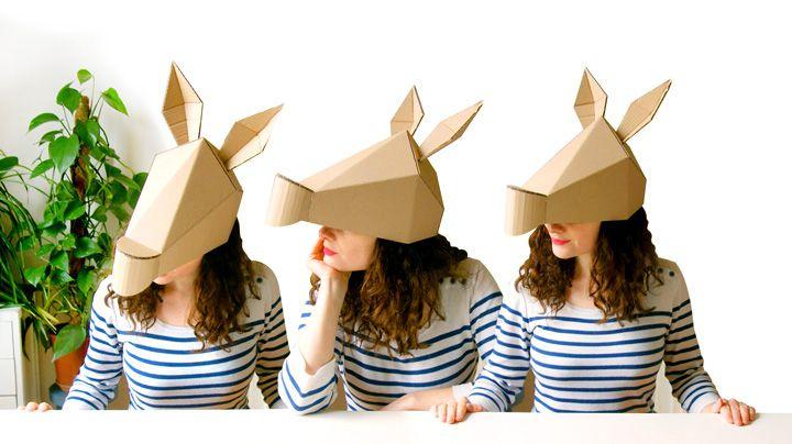 diy / âne / carton / fleurs papier / masque / déguisement