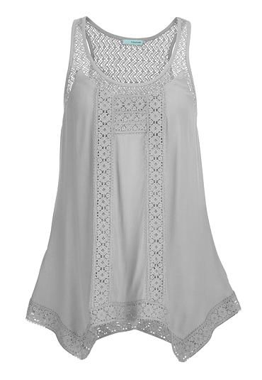 sleeveless top with lace and hanky hem (original price, $29) available at #Maurices