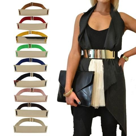 Hot Elastic Mirror Metal Waist Belt Metallic Bling Plate Wide Band for – nantahalas