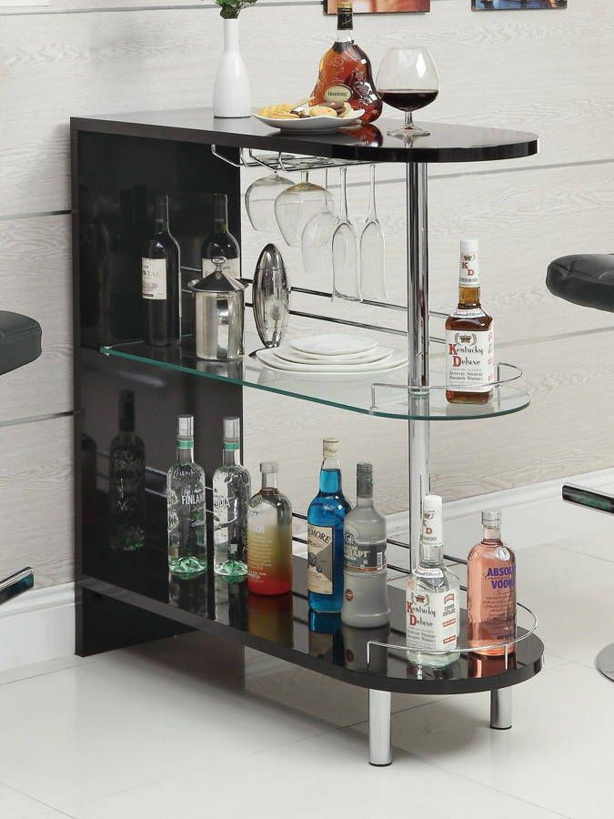 Contemporary Black Glass Chrome Wood Bar Table