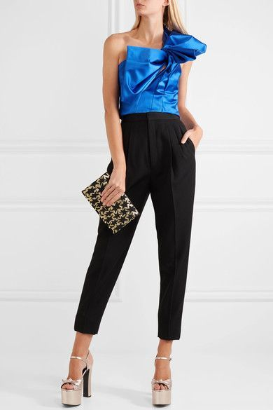 Saint Laurent - Bow-embellished Metallic Textured-leather Platform Sandals - Platinum - IT36.5
