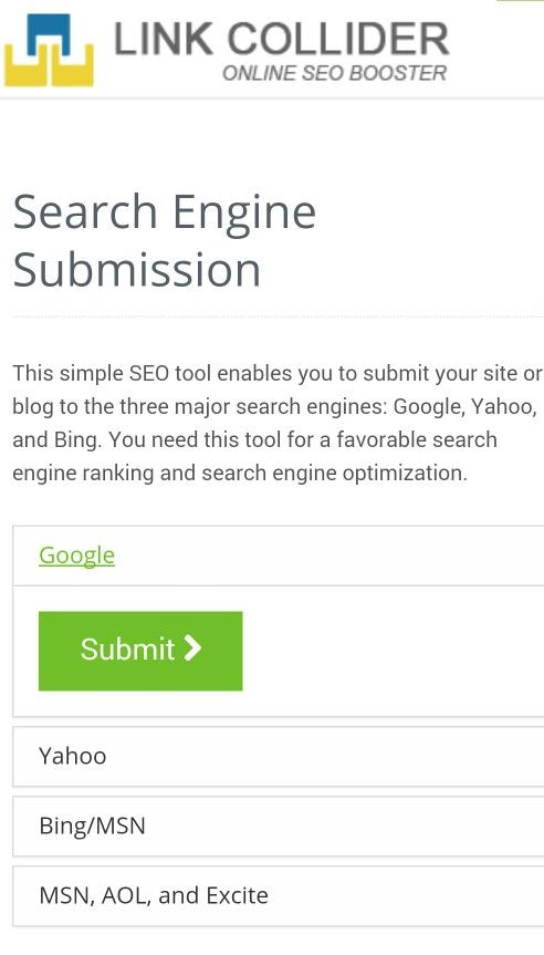 Haven't yet submitted your site to Google? Submit it now using linkcollider.com/page/sesubmission