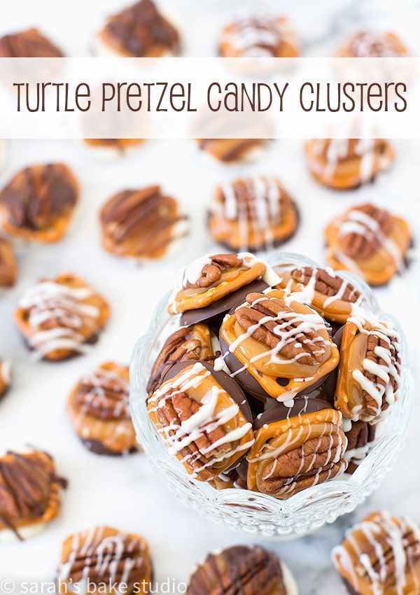 Turtle Pretzel Candy Clusters – a little bit of sweet and salty, a little bit of crunchy, a little chocolate-y, a little gooey caramel, a healthy pecan, and a whole LOT of delightful flavor; you'll love this stress-free treat!