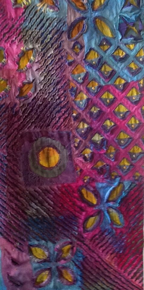 Fabric collage Original art quilt Small textile art UP