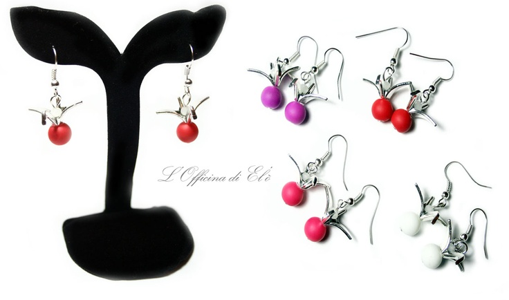 earrings with birds    orecchini con uccelli in origami