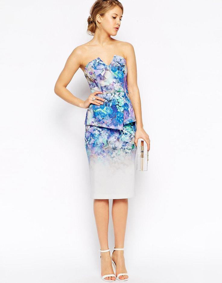 Bild 1 von ASOS – Hochwertiges Bandeau-Kleid mit Schößchen und Blumenmuster